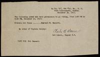 """[Permission slip for Bassett to """"go riding"""" (not a letter)] (December 30, 1917)"""