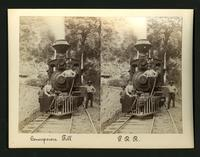 Concepcion Fill / P.R.R. [Pacific Railroad?]: 2 men, a lady and a dog with the front of a steaming locomotive