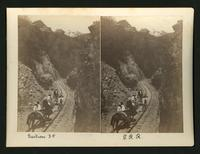 Section 34 / P.R.R. [Pacific Railroad?]: men and horses on railroad tracks