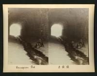 Concepcion Fill / P.R.R. [Pacific Railroad?]: a man sitting by drainage in a tunnel