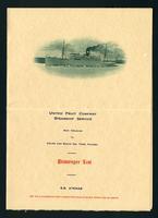 United Fruit Company Steamship Service: S. S. Atenas Passenger List