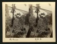 Rio Grande / P.R.R. [Pacific Railroad?]: a man sitting on a rock with the bridge high above