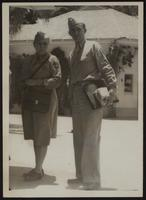 8x10 photo of Peggy with Staff Sergeant Hobert Skidmore, WWII (2 copies)