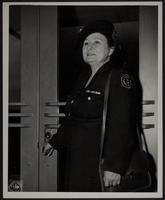3x5 Photo of Peggy at door, WWII US Signal Corps