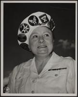 8x10 photo of Peggy in white uniform with insignia hat (Signal Corps US Army), WWII