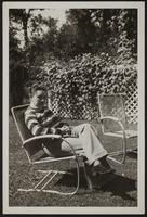 Photo of Peggy in a lawn chair
