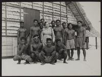 5x8 photo of Peggy and native pacific islanders WWII (3 copies)