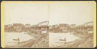 Construction of dam and newly constructed bridge over Kansas River