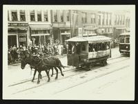 Horse-drawn streetcar (Lawrence Transportation Company) (75th Anniversary Historic Parade)