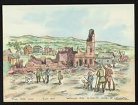 Sack of Lawrence - ruins of Free State Hotel [watercolor by Orlando E. Wilson]