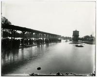 High water at Santa Fe depot (1903 Flood)
