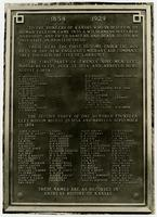Inscribed plaque on pioneer boulder monument (75th Anniversary Historic Parade)