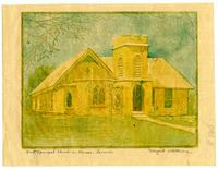 Trinity Episcopal Church, Tri-Color Print By Maragaret Wittemore