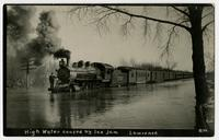 High water caused by ice jam (shows train with man on engine)