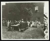 Reenactment of signing First Kansas Legislature in Watkins Park (Lawrence Centennial Parade)