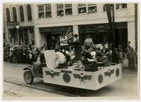 """KU contrast in training in fine arts, 1866 to """"now"""" float (75th Anniversary Historic Parade)"""