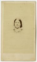 Portrait, small image of woman with slanted lip expression
