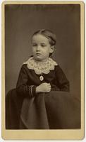 Portrait of a young girl with a lacy white collar and oval pendant
