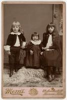 Portrait of three small children standing on a furry rug