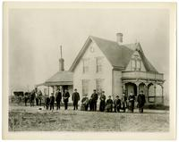 Unidentified Early Gothic Revival House, and Family