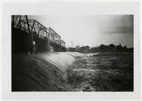 Kansas River Dam and Bridge in High Water, Looking South at Union Pacific