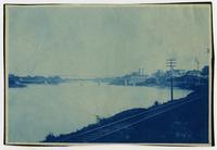 Kansas River and Santa Fe Railroad Tracks, Looking Northeast at Bridge