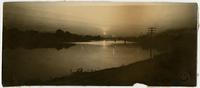 Kansas River and Bridge at Sunset