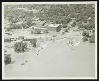 Aerial view along railroad (1951 Flood)
