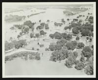 Aerial view looking northwest from intersection of US-24/40 and US-59 (1951 Flood)