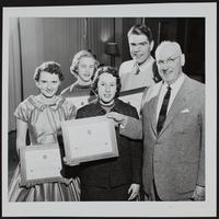 4H Club - achievement day key awards (L to R) Gloria Ousdahl; Mary K. Husted; Mary Miller; Allan Robb; Roger Allen, Cities Service representative.