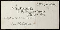 Wrapper addressed to W. M. Rossetti and signed by F. G. Stephens