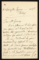 Letter to Mr. Gurney [Alfred, 1845-1898?]