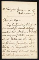 Letter to Mr. Brown [Ford Madox Brown?]