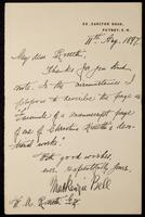 Letter from Mackenzie Bell to William Michael Rossetti