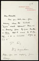 Letter from H. C. Marillier to Dear Rossetti [William Michael Rossetti]