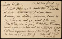 Postcard from F Madox Brown [Ford Madox Brown] to William Michael Rossetti