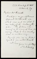 Letter from J. T. Nettleship to My dear Mr. Rossetti