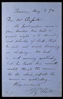 Letter from T. G. Hake [Thomas Gordon Hake] to Mr. Rossetti