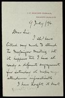 Letter to Rev. Dr. Thompson