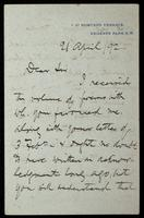 Letter to W. L. Longstaff [W. Luther (William Luther) Longstaff]