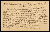 """Postcard to """"Profr. Chew"""", Bryn Mawr College, Bryn Mawr PA."""