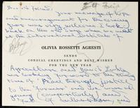 "Card to ""Dear old Friend"" [Mr. Robertson Scott?]"