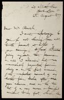 """Letter to """"Dear Mrs Rossetti"""" (Lucy Madox Brown Rossetti)"""