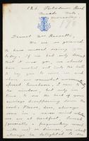 """Letter to """"Dearest Mrs Rossetti"""" (Lucy Madox Brown Rossetti?)"""