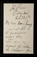 """Letter to """"My dear Mrs. [?] Rossetti"""" (Lucy Madox Brown Rossetti)"""