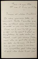 """Letter to """"Bonne et chere Mme"""" (Lucy Madox Brown Rossetti)"""