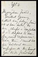 """Letter to """"My very dear friend"""" (Lucy Madox Brown Rossetti?)"""
