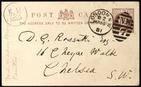 Postcard from Ford Madox Brown to Dante Gabriel Rossetti