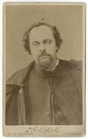 Signed photograph of Dante Gabriel Rossetti on card