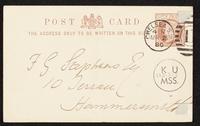 Postcard to F. G. Stephens [Frederic George Stephens]